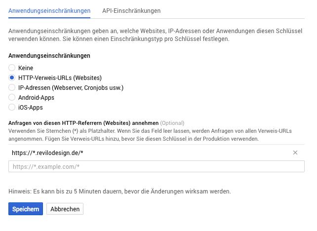 google maps api key anwendungseinschränkungen