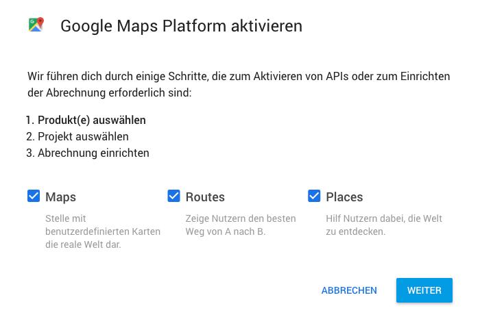 google maps plattform aktivieren
