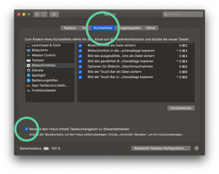 mac steuerelemente mit tab wechseln aktivieren