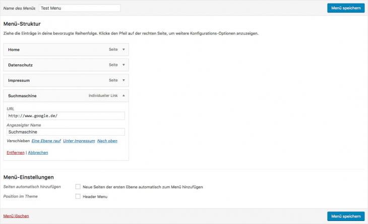 wordpress menu link target blank step 1