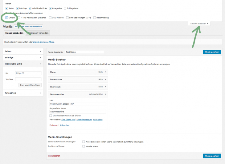 wordpress menu link target blank step 2