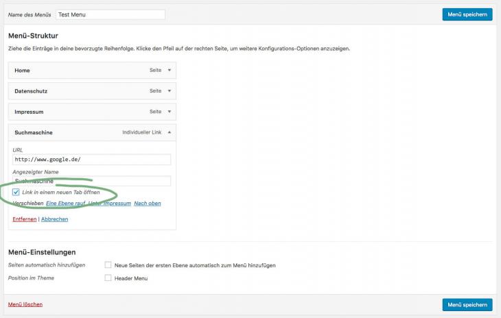 wordpress menu link target blank step 3