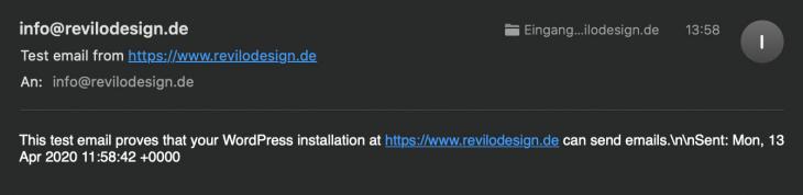 Wordpress sendet email erfolgreich